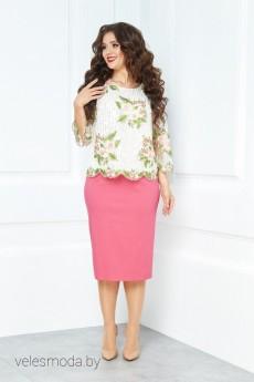Костюм с юбкой 491 розовый Anastasia