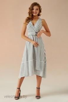 Платье   022 серый+белый Andrea Fashion