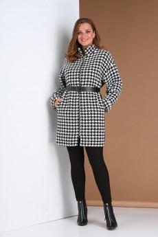 Пальто 0409 черно-белый Andrea Style