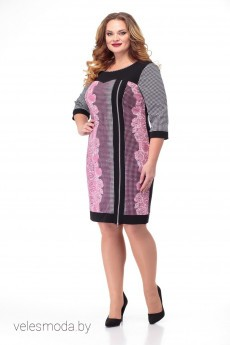 Платье 149 розовый+гусиная лапка Anelli