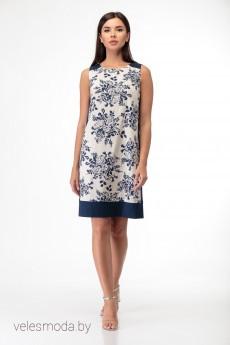 Платье 499 сине-белый+принт Anelli