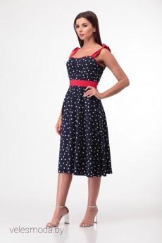 Платье 843 синий+горох Anelli