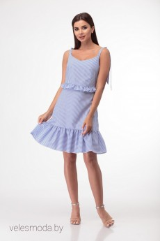 Платье 851 голубой+полоска Anelli