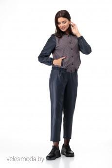 Костюм с брюками 902 беж+бордо+клетка Anelli