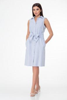 Платье 988 голубой + полоска Anelli