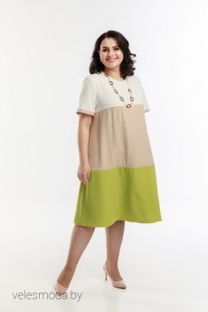 Платье 1090 бежевый+зеленый+белый Belinga