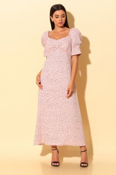 Платье 2057 Розовая пудра с чёрными горошками Chumakova Fashion