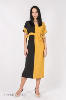 Платье 1503 черный+желтый Daloria