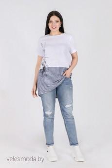 Блузка 6090 бело-серый Daloria