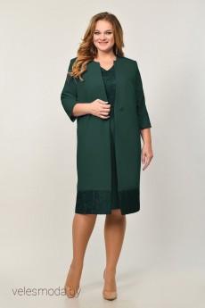 Костюм с платьем 21-675 зеленый  Elga