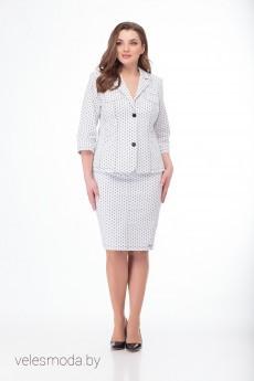 Костюм юбочный 4081+3239 белый Elite Moda