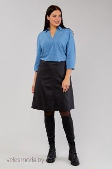 Блузка 4615 голубой+горох Emilia
