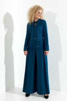 Костюм брючный 370 сине-зеный Euro Moda