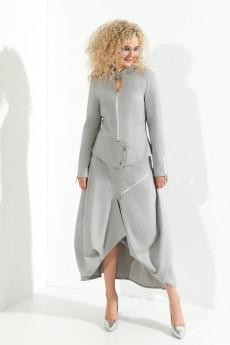 Костюм с юбкой 372 серый + розовый+ люрекс Euro Moda