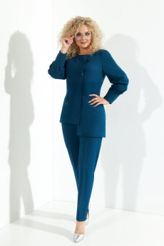 Костюм брючный 375 сине-зеный Euro Moda