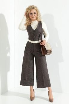 Костюм брючный 376 серо-коричеквые оттенки Euro Moda