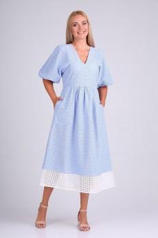 Платье 4094 голубой + белый FloVia