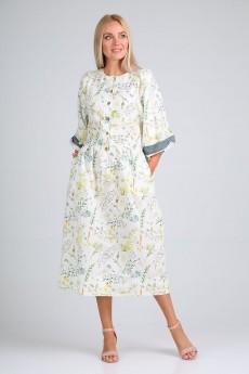 Платье 4096 молочный принт FloVia