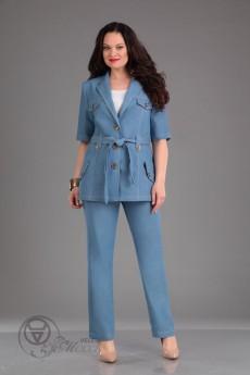 Костюм брючный 923 голубой Iva