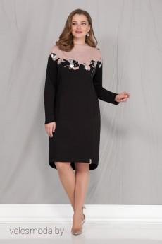 Платье 1727 черный+розовый Ивелта Плюс