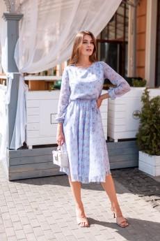 Платье 185-21 голубой в цветы KRASA