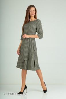 Платье В-170 черно-оливковый Карина Делюкс