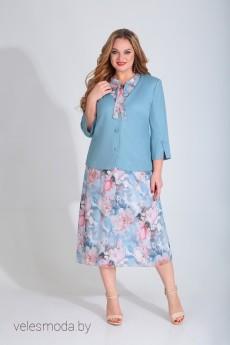Костюм с платьем В-272 нежно-голубой Карина Делюкс