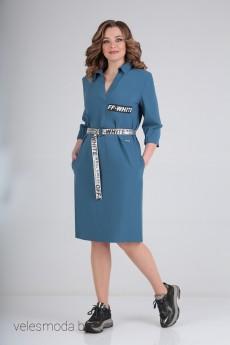 Платье В-316А серо-голубой Карина Делюкс