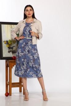 Костюм с платьем 284К беж+синий Карина Делюкс