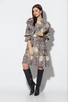 Платье 808 черный+кирпич Кокетка и К