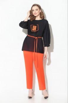 Костюм брючный 832 черный+оранжевый Кокетка и К