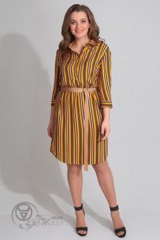 Платье 1067 горчичная полоска LADIS LINE