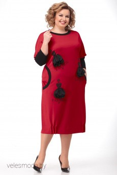 Платье 1194 красный LADIS LINE