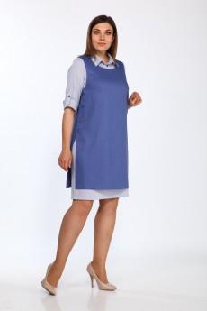 Костюм с платьем 1300 синие тона Lady Style Classic