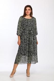 Костюм с платьем 2372 хаки кружочки Lady Style Classic
