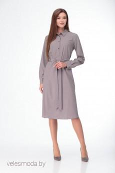 Платье 1972 серо-бежевый LadyThreeStars