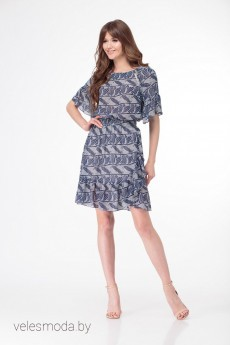 Платье 1945 сине-серый LadyThreeStars