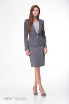 Костюм с юбкой 2007 серый LadyThreeStars