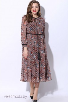 Платье 11072 розовый+черный горох LeNata