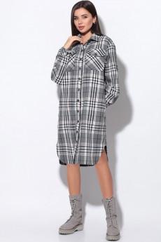 Платье 11169 серый+клетка LeNata