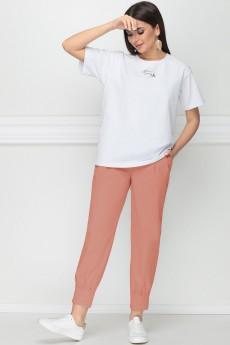 Костюм брючный 21198 белый + розовый LeNata
