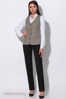 Костюм брючный 32912 мелкая лапка +брюки черные LeNata