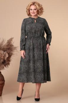 Платье 1885 черный + принт Linia-L