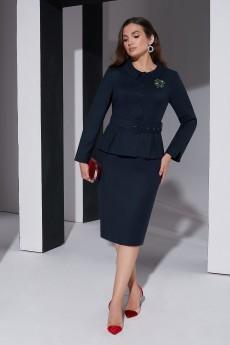 Костюм с юбкой 4377 темно-синий Lissana