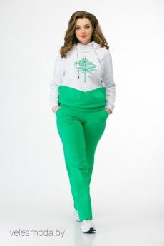 Спортивный костюм 720-095 белый+зеленый MALI