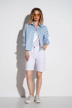 Блузка 434 белый+голубая полоска Marika