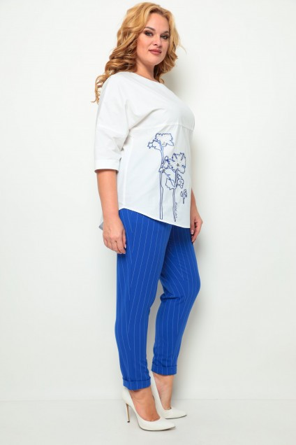 *Костюм брючный 1255 белый + синий Michel Chic