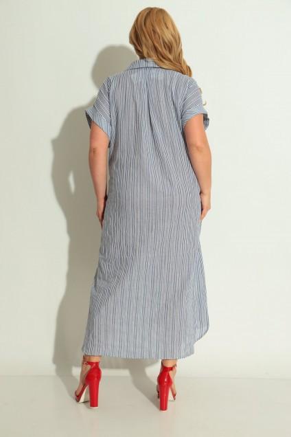 Платье 993 синяя полоска + красное кружево Michel Chic