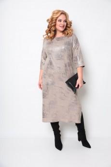Платье 2074 бежевый + бронза Michel Chic