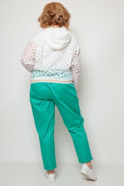Костюм брючный 1240 белый+зелёный Michel Chic